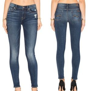 7 For All Mankind Distressed Squiggle Skinny Jeans